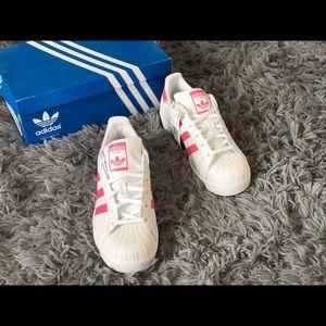 Adidas Superstar Pink&White ,big kids size